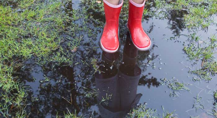 Little girl in red rain boots standing in puddle in grass