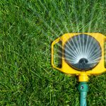 Yellow sprinkler attached to spraying on grass