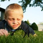Little boy using magnifying glass to look at grass