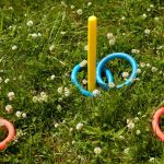 Game of ring toss on lawn