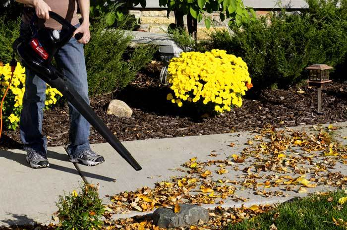 Man using Toro debris blower to blow leaves off sidewalk