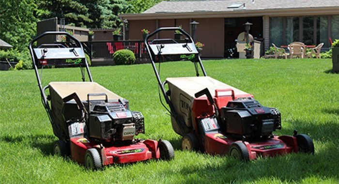 Two Toro push lawn mowers side by side in front yard
