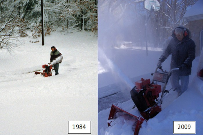 Someone using snowblower in 1984 and 2009