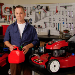 Man holding gasoline jug for Toro Lawn Mowers and Snow Blowers