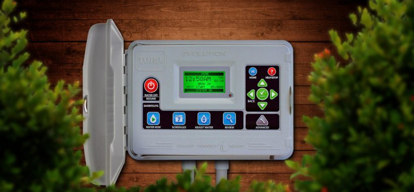 Toro Evolution Smart Connect irrigation system on house between bushes